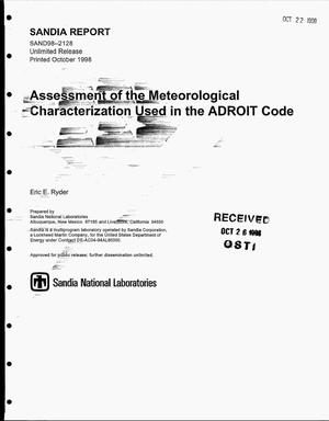 Primary view of object titled 'Assessment of the Meteorological Characterization Used in the ADROIT Code'.