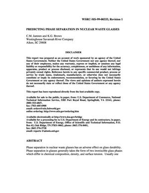 Primary view of object titled 'Impact of Phase Separation on Waste Glass Durability'.