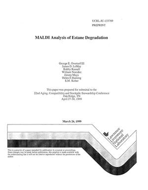 Primary view of object titled 'MALDI analysis of estane degradation'.