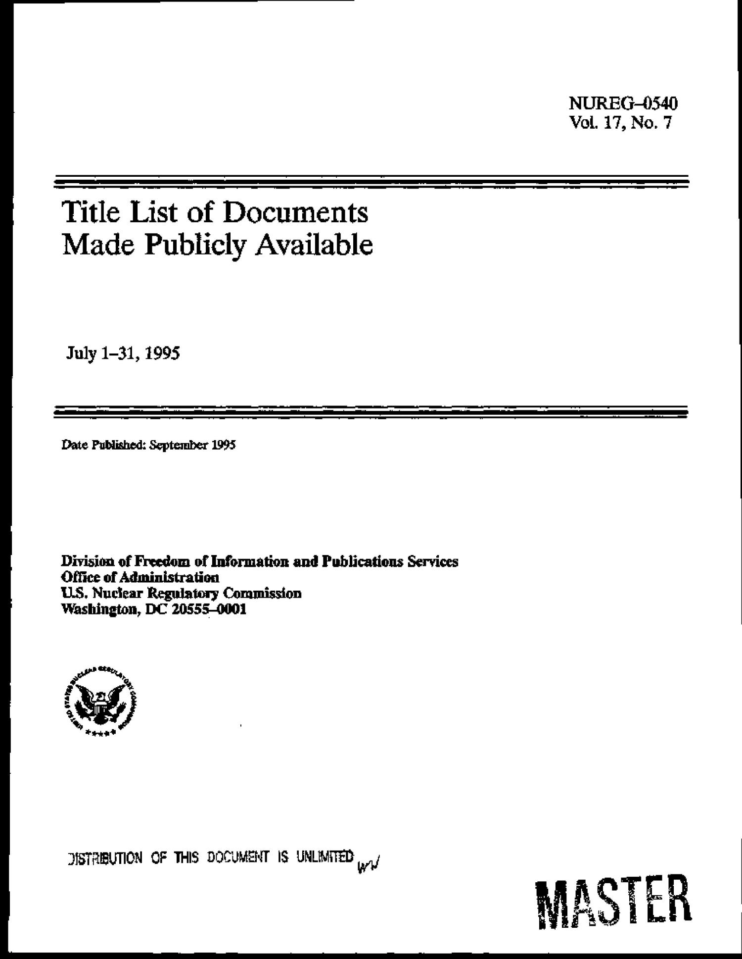 Title list of documents made publicly available. Volume 17, No. 7                                                                                                      [Sequence #]: 3 of 282