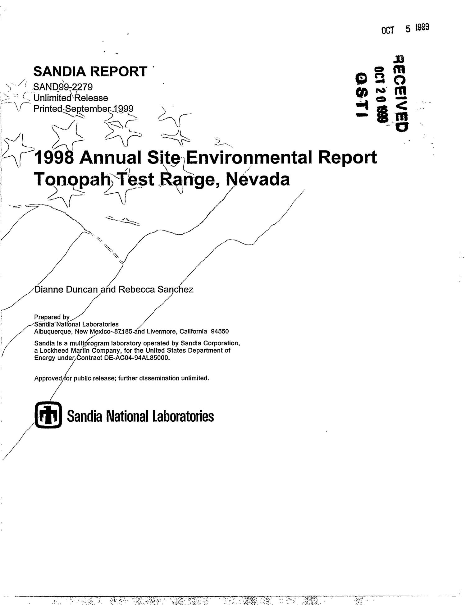 1998 Annual Site Environmental Report Tonopah Test Range, Nevada                                                                                                      [Sequence #]: 1 of 111