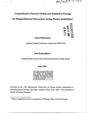 Primary view of object titled 'Comprehensive physical models and simulation package for plasma/material interactions during plasma instabilities.'.