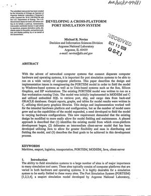 Primary view of object titled 'Developing a cross-platform port simulation system.'.