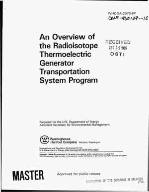 Primary view of object titled 'An overview of the Radioisotope Thermoelectric Generator Transporation System Program'.