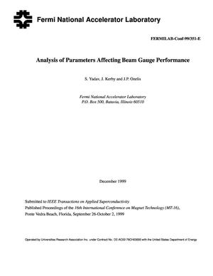 Primary view of object titled 'Analysis of Parameters Affecting Beam Gauge Performance'.