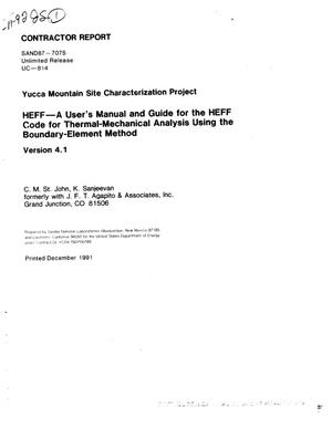 Primary view of object titled 'HEFF---A user`s manual and guide for the HEFF code for thermal-mechanical analysis using the boundary-element method; Version 4.1: Yucca Mountain Site Characterization Project'.