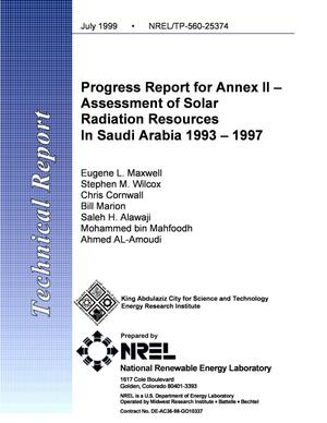 Primary view of object titled 'Progress Report for Annex II--Assessment of Solar Radiation Resources in Saudi Arabia 1993-1997'.