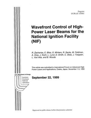 Primary view of object titled 'Wavefront control of high power laser beams for the National Ignition Facility (NIF)'.
