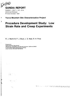 Primary view of object titled 'Procedure development study: Low strain rate and creep experiments; Yucca Mountain Site Characterization Project'.