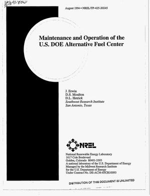 Primary view of object titled 'Maintenance and operation of the USDOE Alternative Fuel Center'.