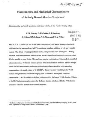 Primary view of object titled 'Microstructural and Mechanical Characterization of Actively Brazed Alumina Specimens'.