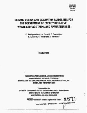 Primary view of object titled 'Seismic design and evaluation guidelines for the Department of Energy High-Level Waste Storage Tanks and Appurtenances'.