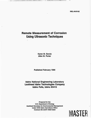 Primary view of object titled 'Remote measurement of corrosion using ultrasonic techniques'.
