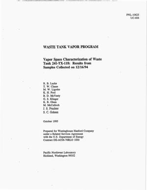 Primary view of object titled 'Vapor space characterization of waste tank 241-TX-118: Results from samples collected on 12/16/94'.