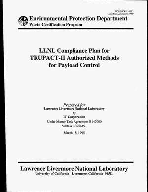 Primary view of object titled 'LLNL Compliance Plan for TRUPACT-2 Authorized Methods for Payload Control'.