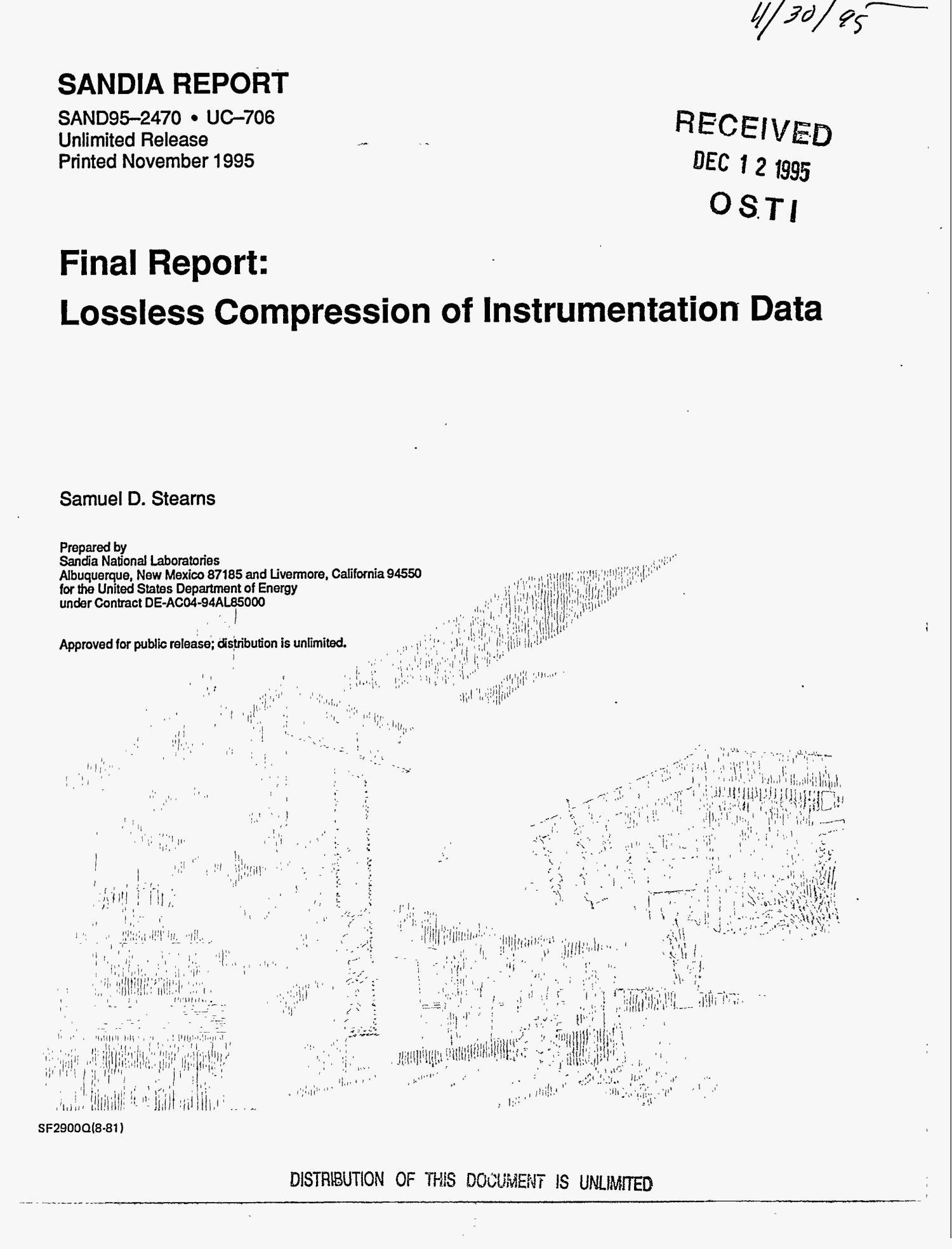 Lossless compression of instrumentation data. Final report                                                                                                      [Sequence #]: 1 of 30