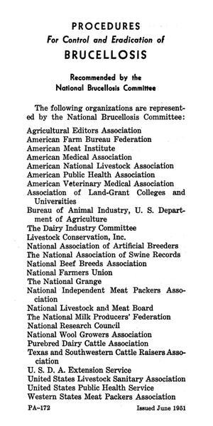 Primary view of object titled 'Procedures for control and eradication of brucellosis, recommended by the National Brucellosis Committee.'.