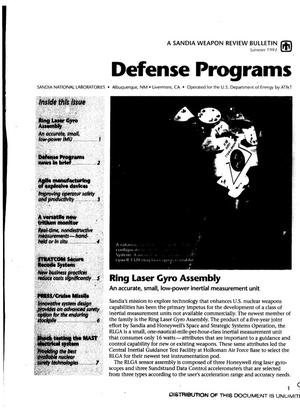 Primary view of object titled 'Defense programs: A Sandia weapon review bulletin'.