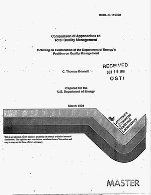 Primary view of object titled 'Comparison of approaches to Total Quality Management. Including an examination of the Department of Energy`s position on quality management'.