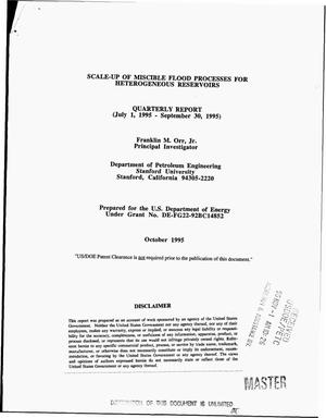 Primary view of object titled 'Scale-up of miscible flood processes for heterogeneous reservoirs. Quarterly report, July 1, 1995--September 30, 1995'.