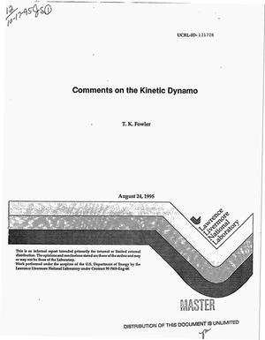 Primary view of object titled 'Comments on the kinetic dynamo'.