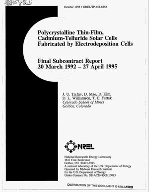 Primary view of object titled 'Polycrystalline thin-film, cadmium-telluride solar cells fabricated by electrodeposition cells. Final subcontract report, March 20, 1992--April 27, 1995'.