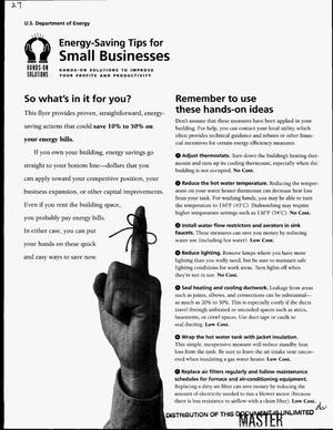 Primary view of object titled 'Energy-saving tips for small businesses'.