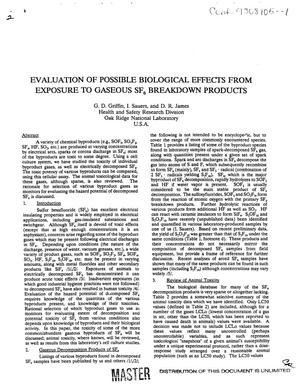 Primary view of object titled 'Evaluation of possible biological effects from exposure to gaseous SF{sub 6} breakdown products'.