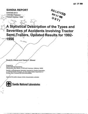 Primary view of object titled 'A Statistical Description of the Types and Severities of Accidents Involving Tractor Semi-Trailers, Updated Results for 1992-1996'.