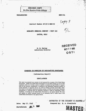 Primary view of object titled 'Comments on handling of radioactive substances'.