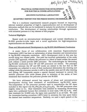 Primary view of object titled 'Practical superconductor development for electrical power applications quarterly report for the period ending December 31, 1997.'.