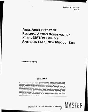 Primary view of object titled 'Final audit report of remedial action construction at the UMTRA Project Ambrosia Lake, New Mexico, site'.