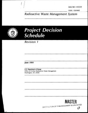 Primary view of object titled 'Radioactive waste management system: Project Decision Schedule; Revision 1'.