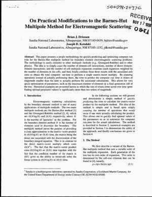 Primary view of object titled 'On Practical Modifications to the Barnes-Hut Multipole Method for Electromagnetic Scattering'.