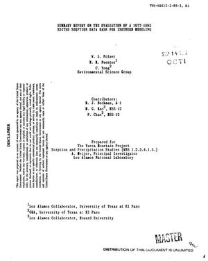 Primary view of object titled 'Summary report on the evaluation of a 1977--1985 edited sorption data base for isotherm modeling'.