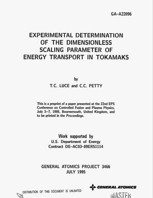 Primary view of object titled 'Experimental determination of the dimensionless scaling parameter of energy transport in tokamaks'.