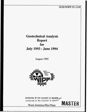 Primary view of object titled 'Geotechnical analysis report for July 1993--June 1994'.