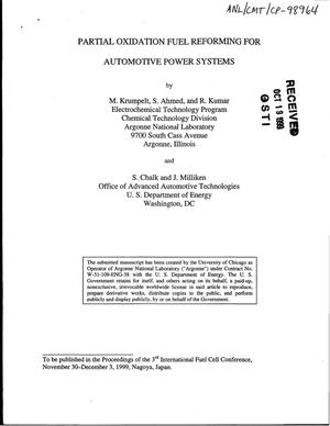 Primary view of object titled 'Partial oxidation fuel reforming for automotive power systems.'.