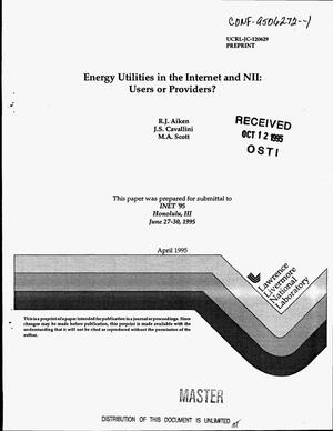 Primary view of object titled 'Energy utilities in the Internet and NII: Users or providers?'.