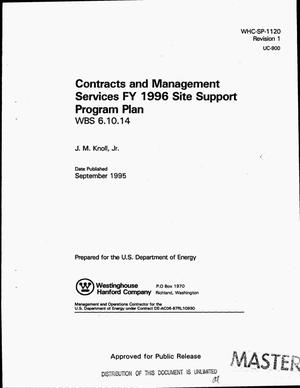 Primary view of object titled 'Contracts and Management Services FY 1996 Site Support Program Plan: WBS 6.10.14. Revision 1'.