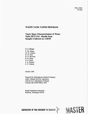 Primary view of object titled 'Waste Tank Vapor Program: Vapor space characterization of waste tank 241-T-111. Results from samples collected on January 20, 1995'.