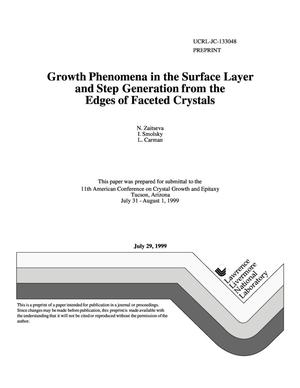 Primary view of object titled 'Growth phenomena in the surface layer and step generation from the edges of faceted crystals'.
