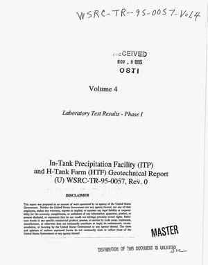 Primary view of object titled 'In-Tank Precipitation Facility (ITP) and H-Tank Farm (HTF) geotechnical report, WSRC-TR-95-0057, Revision 0, Volume 4'.