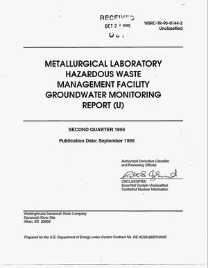 Primary view of object titled 'Metallurgical Laboratory Hazardous Waste Management Facility groundwater monitoring report. Second quarter 1995'.