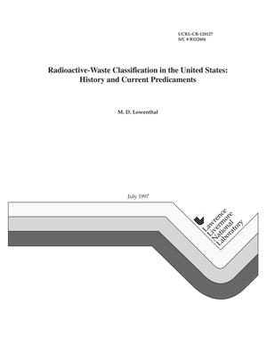 Primary view of object titled 'Radioactive-waste classification in the United States: history and current predicaments'.