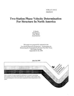 Primary view of object titled 'Two-station phase velocity determination for structure in North Africa'.