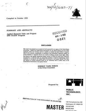 Primary view of object titled 'Energy Task Force of the Urban Consortium. 1994 UCETF Program: Summary and abstracts'.