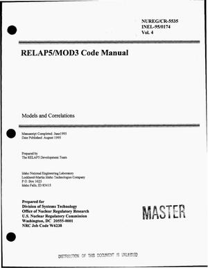 Primary view of object titled 'RELAP5/MOD3 code manual. Volume 4, Models and correlations'.