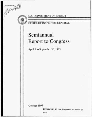 Primary view of object titled 'Office of Inspector General semiannual report to Congress, April 1--September 30, 1995'.