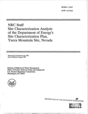 Primary view of object titled 'NRC staff site characterization analysis of the Department of Energy`s Site Characterization Plan, Yucca Mountain Site, Nevada'.